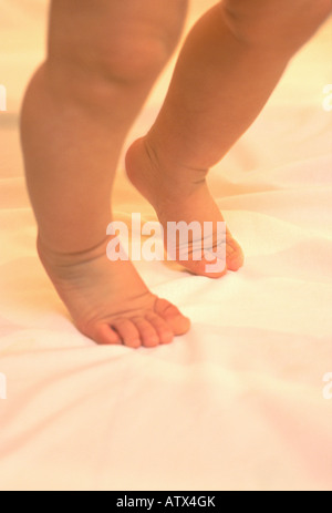 '1 year' old barefoot half Caucasian half Hispanic baby boy taking baby steps - Stock Image