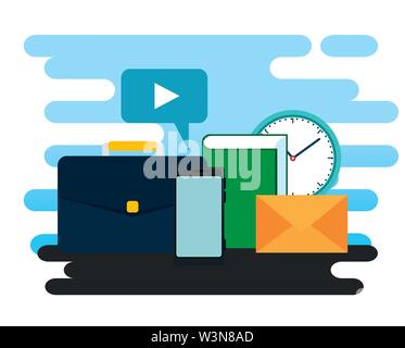 business briefcase with video chat bubble and clock - Stock Image
