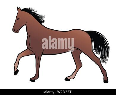 horse, color illustration - vector - Stock Image