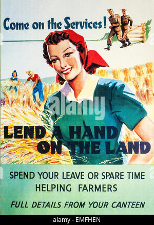 A World War 2 advertisement for help on the land - Stock Image