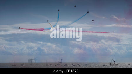 Red arrows at Clacton airshow - Stock Image