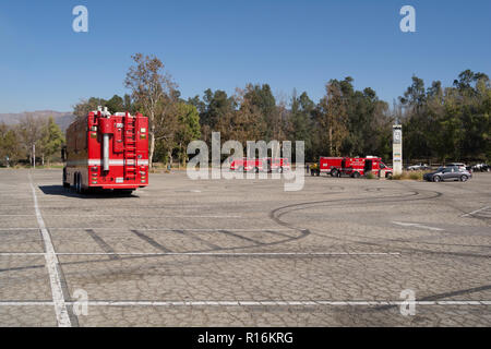 Los Angeles, California, USA. 9th Nov, 2018. Staging for the Griffith Park brush fire. Credit: Chester Brown/Alamy Live News - Stock Image