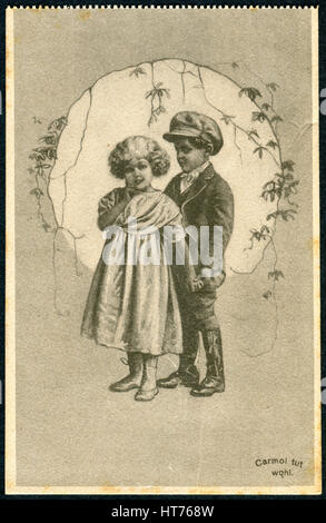GERMANY - CIRCA 1914: A promotional postcard (Carmol tut wohl) printed in Germany, shows a boy with a girl, circa - Stock Image
