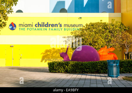 Brightly coloured sculptures of a snail and rabbit Miami's Children's Museum  in Miami Florida, USA. - Stock Image