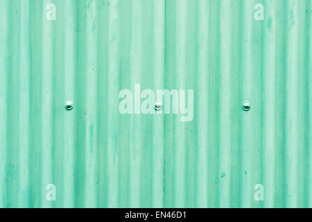 Part of a metal wall made from corrugated metal painted green - Stock Image
