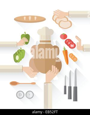 Food industry vector with food and chefs hands - Stock Image