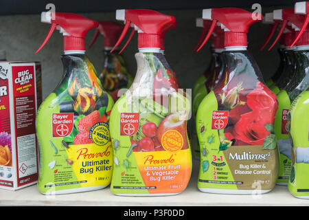 A range of insect bug killer products on sale, The Walled garden plant nursery, Benhall, Suffolk, England, UK - Stock Image