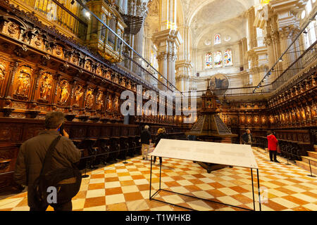 Malaga tourists in Malaga Cathedral Choir looking at the ornate medieval carvings; Catedral de Malaga, Malaga old town, Andalusia Spain - Stock Image