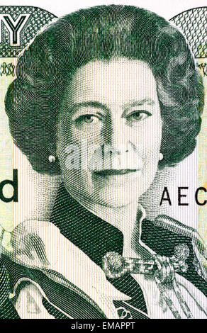 Queen Elizabeth II (born 1926) on 1 Pound 1993 Banknote from Jersey. Queen of the United Kingdom. - Stock Image