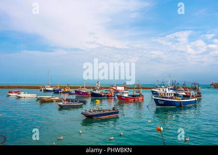 Fishing Fleet,Folkestone Harbour,Folkestone,Kent,England,UK - Stock Image