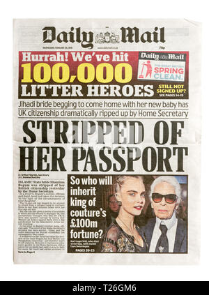 The front page of the Daily Mail from 20 Feb 2019 with the headline 'Stripped of her Passport' about Shamima Begum - Stock Image