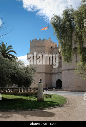 Torres de Serranos (Serrans Gate or Tower), one of 12 gates that formed part of the ancient city walls in Valencia, Spain. - Stock Image