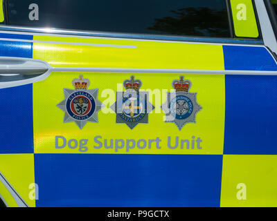 Police car door Cleveland Police Durham Constabulary and North Yorkshire Police Dog Support Unt. - Stock Image