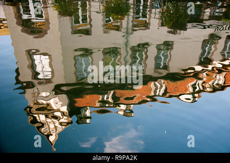 Reflections in a canal in Petite France, Strasbourg, Alsace, France - Stock Image