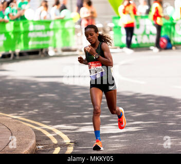 Mare Dibaba competing for Ethiopia in the 2018 Elite Women's London Marathon. She went on to finish .7th, in a time of 02:27:45 - Stock Image