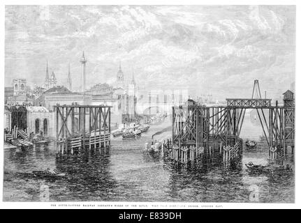 South Eastern  Railway company building Blackfiars railway bridge over river Thames 1864 - Stock Image