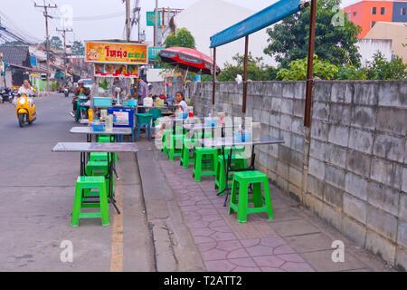Street food stall, Maenamkwai Road, main street, Kanchanaburi, Thailand - Stock Image
