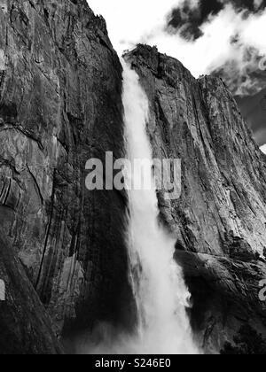 Yosemite falls from the hiking trail. Yosemite national park. California USA. - Stock Image