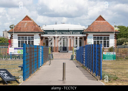 The front of Southsea tennis club, Southsea, Portsmouth, Hampshire - Stock Image