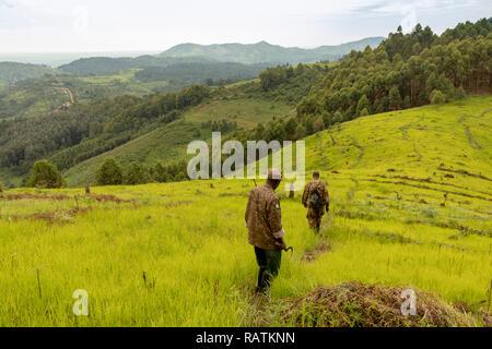 Park rangers on the outskirts of Bwindi Impenetrable Forest, Bwindi, Uganda, Africa - Stock Image