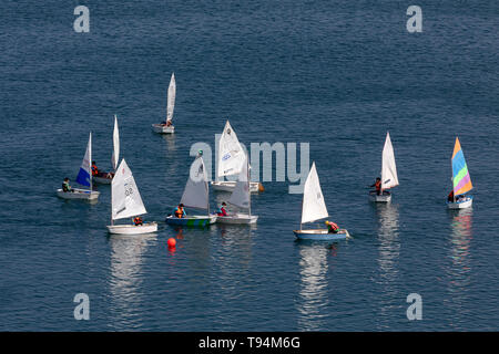 Children learn sailing on the Black sea - Stock Image