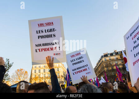 Paris, France. French LGBT Demonstration against Homophobia, Recent Anti-gay violence, Posters Campaign for Homosexual Equality - Stock Image