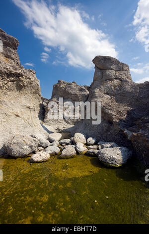 Seastacks in the island of Gotland, Sweden. The local name for a seastack is a Rauk. - Stock Image