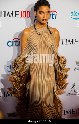 Indya Moore attends TIME 100 GALA on April 23 in New York City - Stock Image