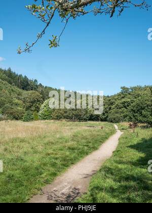 Footpath in the Cornish town of Lostwithiel. - Stock Image