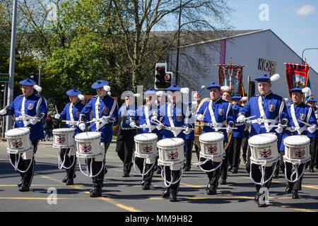 6th May 2018, Manchester UK. Drummers of the County Flute Band of Motherwell front the musicians taking part in the Apprentice Boys of Derry parade. - Stock Image