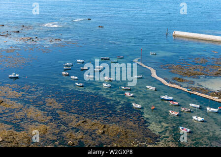 Penmarch, France - August 2, 2018: Aerial view of the harbour of Point Penmarch. - Stock Image