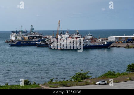 Ships docked in the harbour at Malabo, the capital of Equatorial Guinea - Stock Image