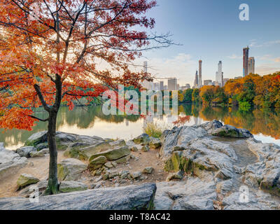 Central ark in Autumn at the lake early in the morning at sunrise - Stock Image