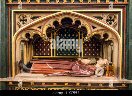 William II Canynges tomb inSt. Saint Mary Redcliffe district  Anglican parish church Bristol England - Stock Image