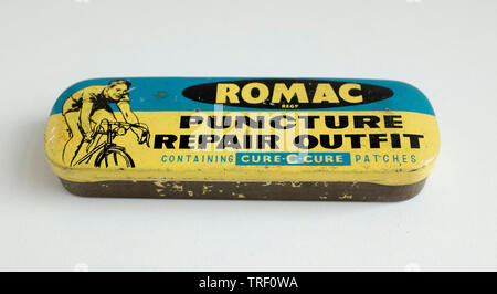 Romac Brand Bicycle Repair Outfit Tin - Stock Image