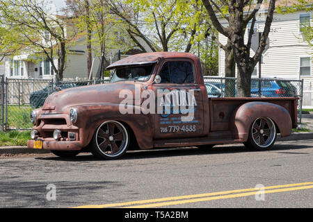 A 1955 Chevy pick-up truck used by Astoria Sounds. Parked in Jamaica, Queens, New York City. - Stock Image