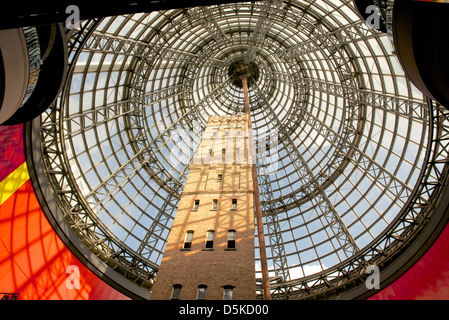 Coop's Shot Tower, encased by the Melbourne Central Cone in the CBD - Stock Image