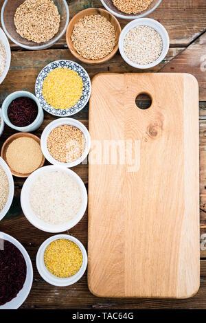 Buckwheat, red rice, bulgur, rice, amaranth, oats, barley and spelt and quinoa - Stock Image
