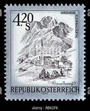 Austrian definitive postage stamp (1979) : Hirschegg Kleinwalsertal - Stock Image