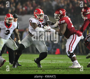 Pasadena, California, USA. 01st Jan, 2018. DUPLICATE***Georgia Bulldogs nose tackle John Atkins #97 during the 2018 - Stock Image