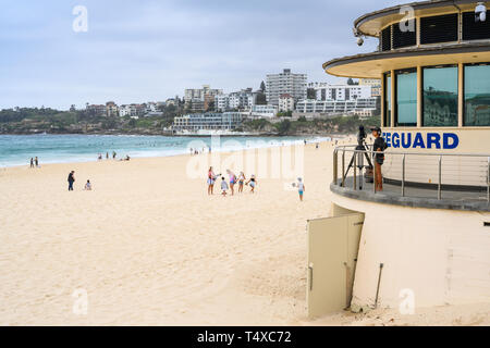 Lifeguard station at Bondi Beach.  Bondi Beach is in a suburb of Sydney, Australia, and is popular with locals and tourists. - Stock Image