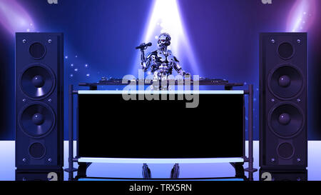 DJ Robot, disc jockey cyborg with microphone playing music on turntables, android on stage with deejay audio equipment, front view, 3D rendering - Stock Image