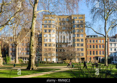 Florin Court seen across Charterhouse Square features as Whitehaven Mansions, the home of Hercule Poirot, in the TV series 'Agatha Christie's Poirot'. - Stock Image