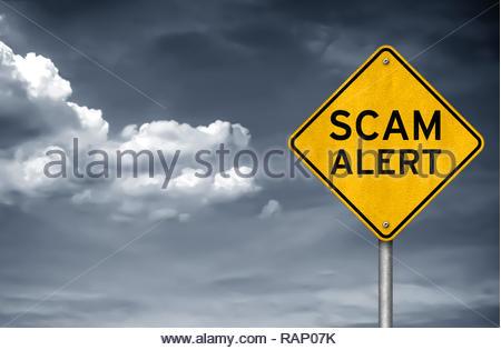 Scam Alert - warning sign - Stock Image