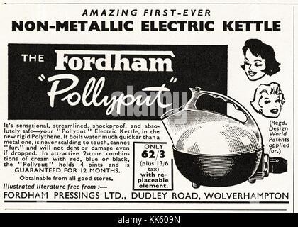 1950s old vintage original advert british magazine print advertisement advertising The Fordham Pollyput plastic - Stock Image
