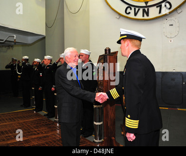 Former President Jimmy Carter visits USS Carl Vinson. - Stock Image