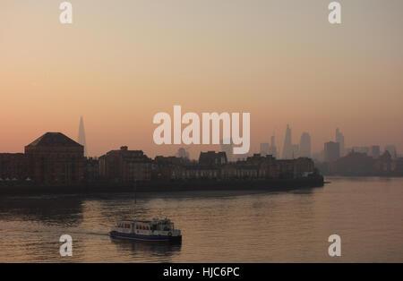 City Skyline from Canary Wharf at Sunset, London, UK - Stock Image