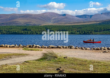Loch Morlich and Cairngorms in Glenmore Cairngorms National Park Highland Scotland with canoeists and ducks with Cairngorm mountain behind - Stock Image