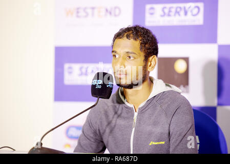 Pune, India. 1st January 2019. Ramkumar Ramanathan of India speaks to the press after winning his first round match at Tata Open Maharashtra ATP Tennis tournament in Pune, India. Credit: Karunesh Johri/Alamy Live News - Stock Image