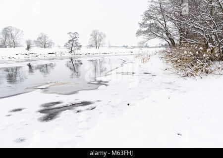 River Tees, County Durham in winter - Stock Image